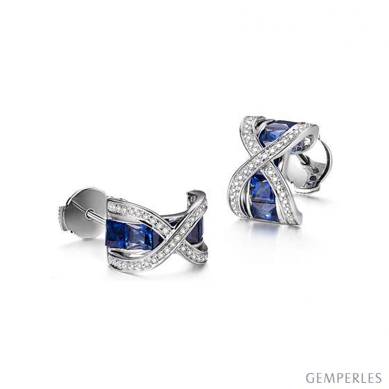Boucles Oreilles sens de nos vies. En saphirs, diamants et Or blanc