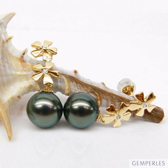 Boucles oreilles fleurs - Pendants perles Tahiti bleus vertes - Or jaune