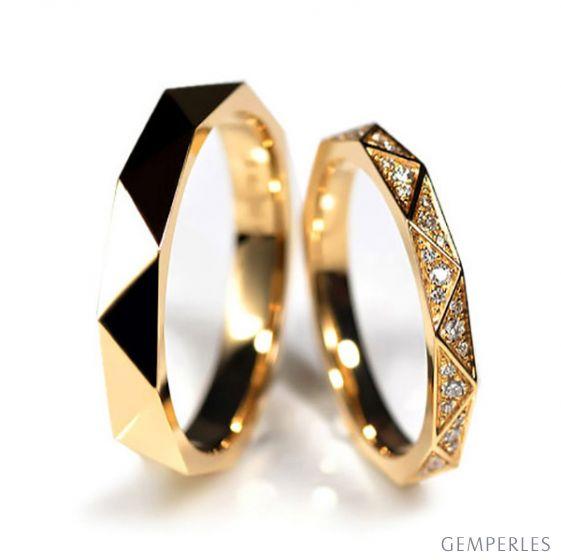 Coppia Anelli Triangulaire - Oro Giallo Finitura Lucida