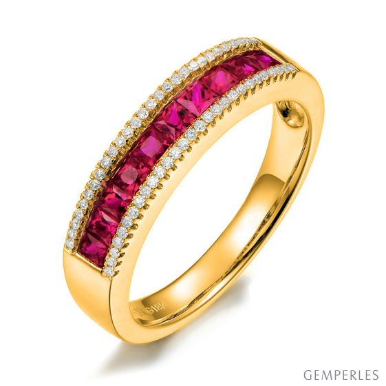 Bague rubis diamant or jaune - Lumière Érubescente