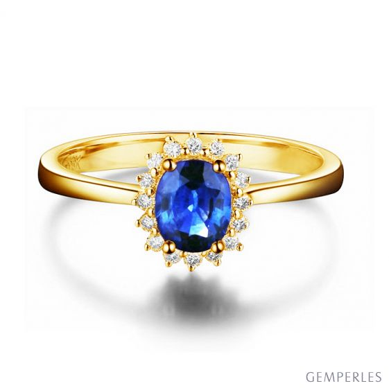 Bague Saphir ovale et diamants - Or jaune 18 carats