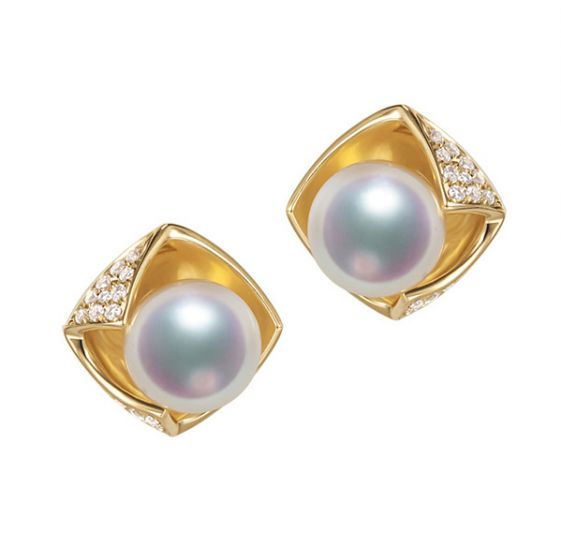 Boucles Oreilles Fukiyose Or jaune Perles Akoya Diamants
