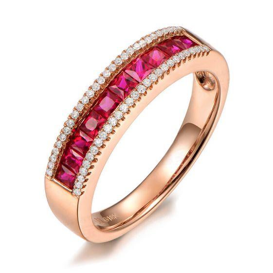 Bague rubis diamant or rose - Lumière Érubescente