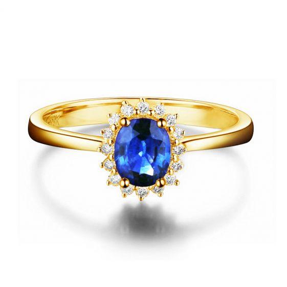 Bague Saphir ovale et diamants - Or jaune 18 carats