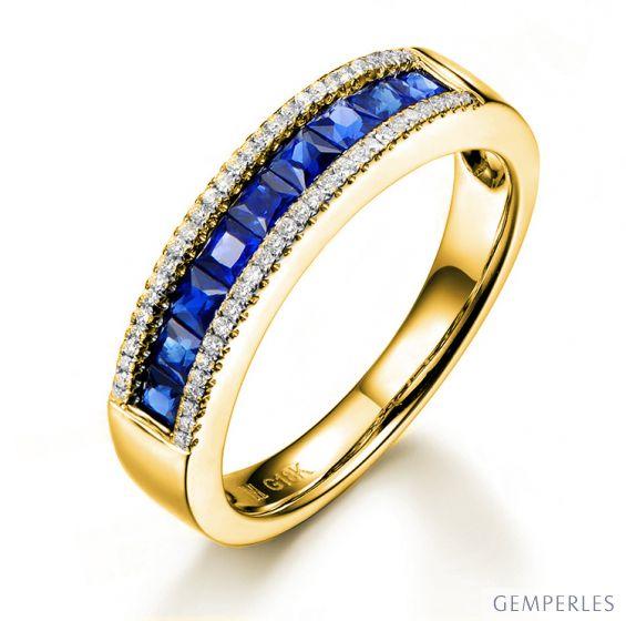 Anello Luce Blu - Oro Giallo e Riviera di Zaffiri Taglio Princess su Binari | Gemperles