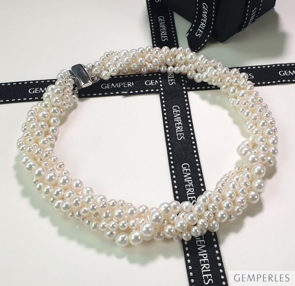 Collier Pierrot I 5 Rangs de Perles Blanches 5/8mm AAA
