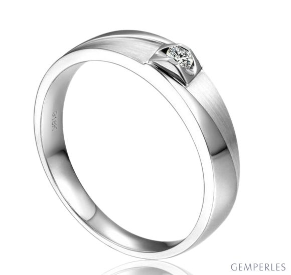 Alliance Renzo Brossée et Polie Platine, Diamant | Gemperles