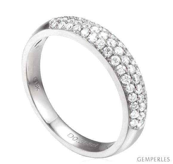 Alliance bombée Platine. 49 diamants 0.388ct   Bianca