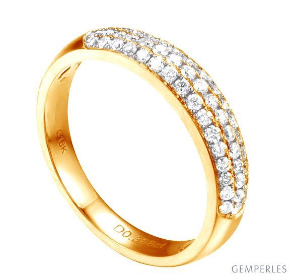 Alliance bombée Or jaune 18 carats. 49 diamants 0.388ct | Bérénice