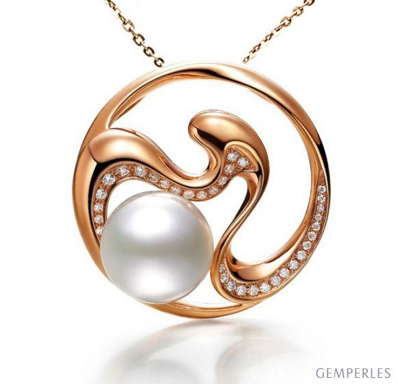 Pendentif fleur de pêcher - Perle d'Australie, diamants, or rose