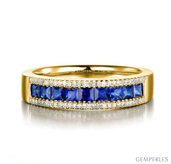 Bague saphir diamant or jaune - Lumière Azurée
