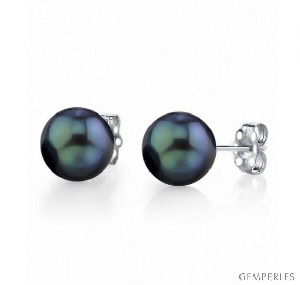 Boucles oreilles perles Akoya noires Japon 7/7.5mm. AAA, Or blanc