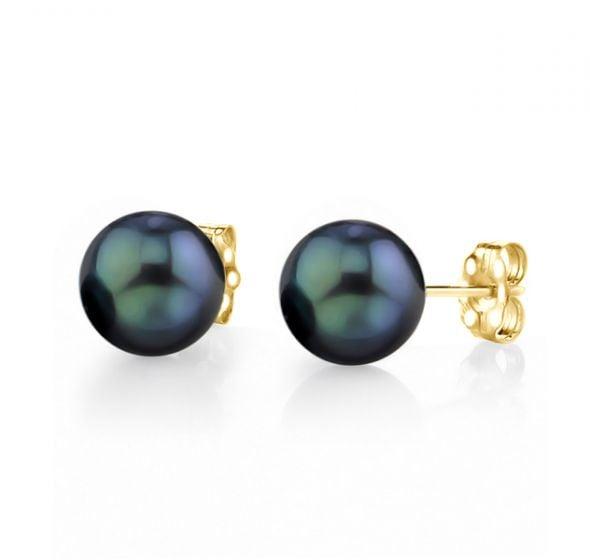Boucles d'oreilles perles Akoya noires. 7/7.5mm, AAA. Or jaune