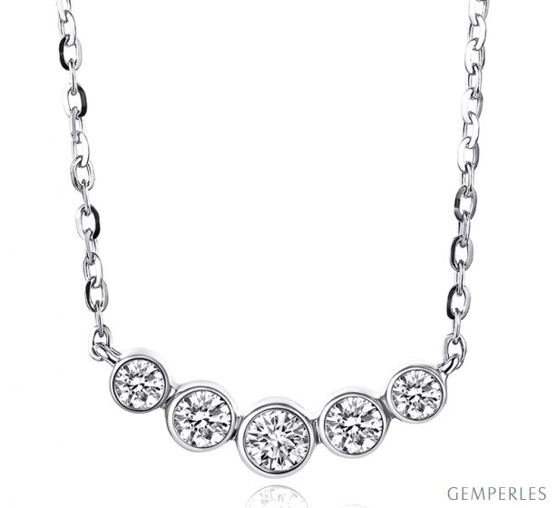 Collier pendentif Or blanc. 5 diamants sertis clos 0.26ct | Gemperles