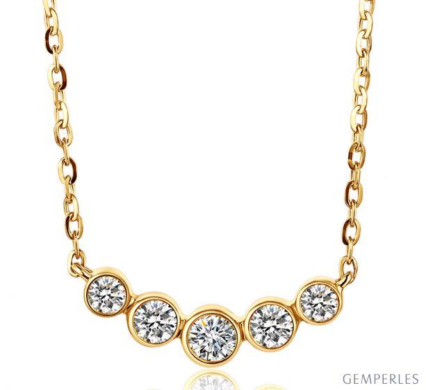Collier pendentif Or jaune. 5 diamants sertis clos 0.26ct   Gemperles