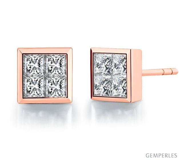 Boucle Puce Personnalisable diamant Princesse 0.40ct. Or rose