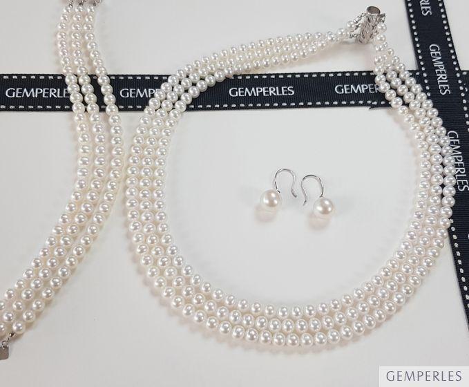 Parure Chabada I Collier, Bracelet & Boucles perles I 5/5.5mm, AAA