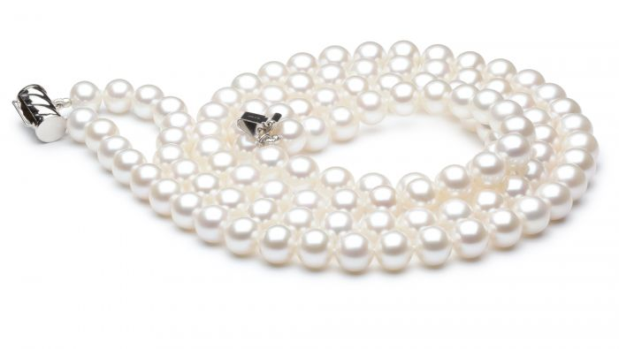 Collier double fil, rang de perles - Perle eau douce blanche - 7/7.5mm