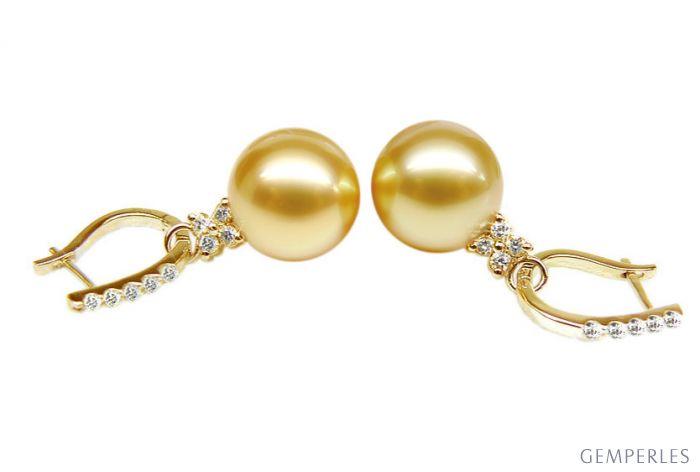 Boucles d'oreilles dormeuses diamantées - Perles d'Australie, or jaune
