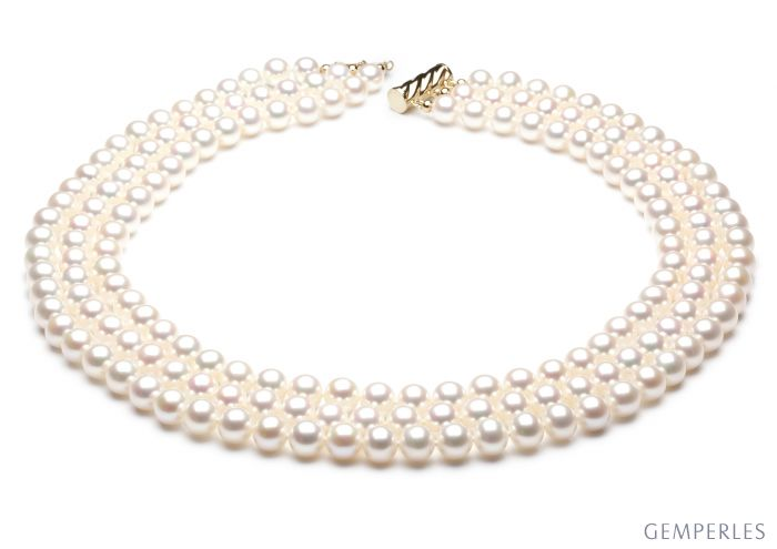 Collier 3 rangs - Collier triple fil perles blanches - 7/7.5mm - AAA