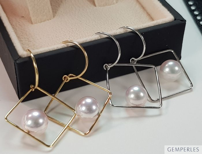 Pendantes d'oreilles carrées Perles Akoya et Or blanc I Chokko