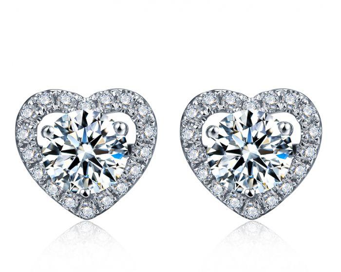 Boucles Oreilles diamants 0.60ct. Or blanc. Coeur