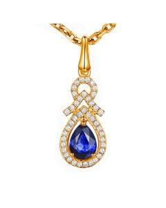 Pendentif Or jaune 18 carats - Saphir et diamants en poire