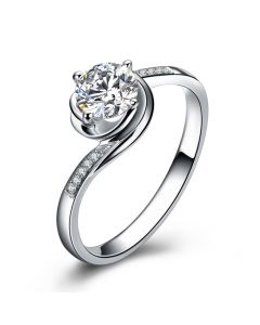 Bague de Fiancailles Rose Vertige - Solitaire Or blanc, Diamants 0.35ct | Gemperles