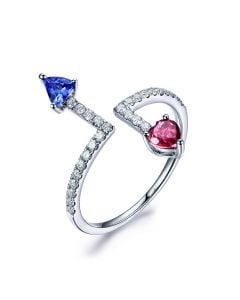 Bague Autre moi. Or blanc, diamants. Tourmaline, tanzanite