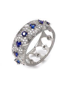 Bague Sixtine - Frivole, Rococo - Or blanc, saphir, diamant