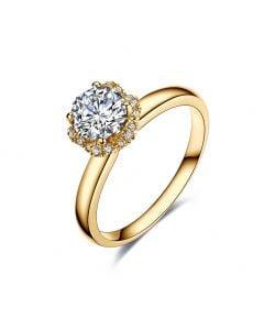 Solitaire Captivante Renoncule - Bague Diamanté & Or Jaune   Gemperles