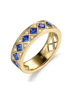 Bague saphir Dame de carreau. Or jaune & diamant