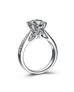 Bague de Fiancaille Lafayette - Solitaire épaulé Or Blanc, Diamant | Gemperles