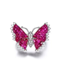 Bague Rubis Birmanie, Or blanc et diamants | Papillon ardent