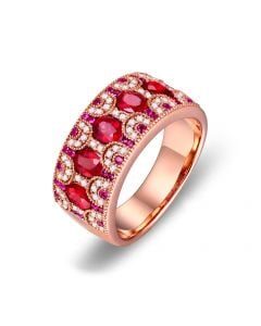 Bague Orientale à Paris. Or rose, Rubis et diamants