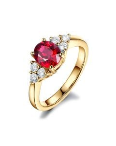 Bague Fiançailles Rubis, Diamants, Or jaune. Douce France