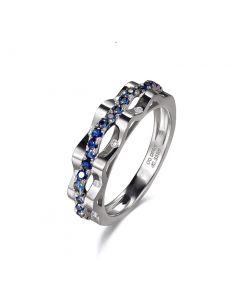 Bague création vague. Saphir & Diamant, or blanc