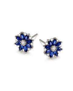 Boucle oreille Blue Mist, fleur de brume bleue - Saphir, diamant, Or blanc