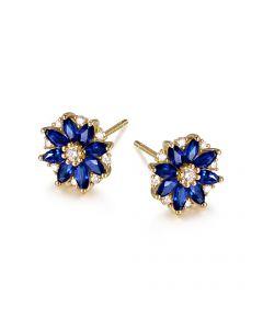 Boucle oreille Blue Mist, fleur de brume bleue - Saphir, diamant, Or jaune