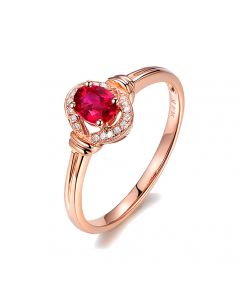 Bague rubis Chérie diamants et Or rose 18cts