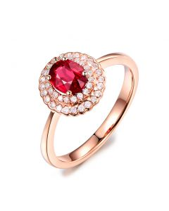 1 rubis, des diamants et de l'or rose : Bague Florali