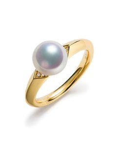 Anello Tsuguka - Oro Giallo, Diamanti e Perla Akoya