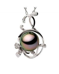 Ciondolo Lisa - Oro Bianco, Diamanti e Perla di Tahiti