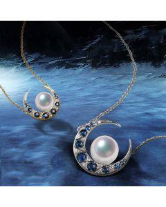 Pendentif Mikadzuki I Perle Akoya Saphir. Croissant de Lune