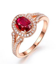 Bague Mogok, rubis de Birmanie.  Or rose et diamants | Mogok