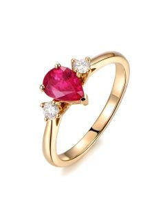 Bague Amour. Or jaune, rubis 1ct taillé en poire, diamants