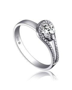 Anello Solitario Contemplations - Oro Bianco & Fascia Diamanti   Gemperles