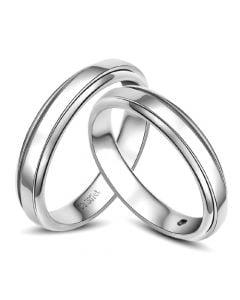 Anneaux d'or blanc 750/1000. Alliances androgynes duo. Diamants | Madeline & Horizon