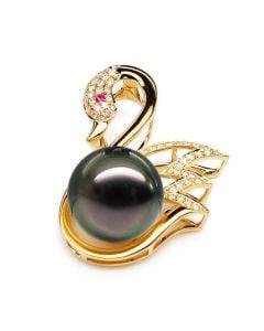 Ciondolo Black Swan - Oro Giallo, Diamanti e Perla di Tahiti