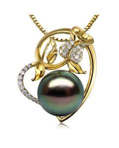 Ciondolo Rosa Trindade - Oro Giallo, Diamanti e Perla Tahiti